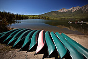 Park Scene Digital Art Prints - Pyramid Lake in Jasper National Park Print by Mark Duffy