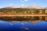 Pyramid Mountain Framed Prints - Pyramid Mountain Reflection Framed Print by Larry Ricker