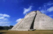 Old Ruins Framed Prints - Pyramid of the Magician in Uxmal Framed Print by Sami Sarkis