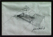 Pyramid Drawings - Pyramidal Roof 1980 by Glenn Bautista