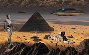 Animal Sculpture Digital Art Posters - Pyramids And Sphinx Appear On Many Poster by Mark Stevenson