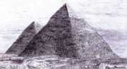 Tomb Drawings Posters - Pyramids in Egypt Giza Ancient Egypt Poster by Benjamin Blankenbehler