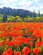 South Of France Painting Originals - Pyrenees Poppies by Diane Daigle