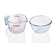 Borosilicate Glass Framed Prints - Pyrex Jug And Bowl Framed Print by