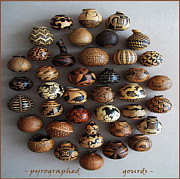 On Wood Pyrography Pyrography - Pyrographed Custom Gourds by Dino Muradian
