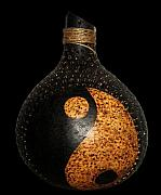 For Collectors Pyrography Originals - Pyrographed Gourd 6a by Roxana Voicu