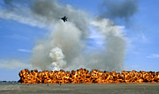 Blowing Up Framed Prints - Pyrotechnics Explode While An F-15 Framed Print by Stocktrek Images