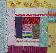 Quilt Posters - Q is for Quilt detail from Childhood Quilt painting Poster by Dawn Senior-Trask