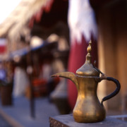 Coffeepot Posters - Qatar welcome Poster by Paul Cowan