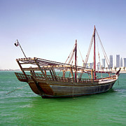 Wooden Ship Posters - Qatari boom dhow Poster by Paul Cowan