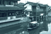 Fishing Boat Framed Prints - Qibao Ancient Town - A peek into the past of Shanghai Framed Print by Christine Till