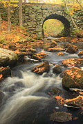 Autumn Foliage Photos - Quabbin Reservoir Keystone Bridge Autumn by John Burk