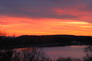 Belchertown Posters - Quabbin Reservoir Windsor Dam Sunset Poster by John Burk