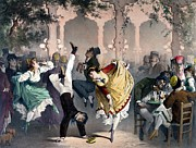 Dancing Painting Framed Prints - Quadrille at the Bal Bullier Framed Print by G Barry