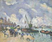 Crane Painting Framed Prints - Quai de Bercy Paris Framed Print by Paul Cezanne