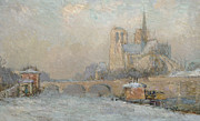 Notre Dame Cathedral Prints - Quai de la Tournelle and Notre-Dame de Paris Print by Albert-Charles Lebourg