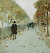 Tree Lined Paintings - Quai du Louvre by Childe Hassam