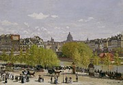Crowd Scene Paintings - Quai du Louvre in Paris by Claude Monet