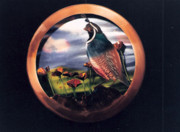 Poppies Sculptures - Quail and Poppies Disc by Glen Cowan