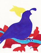 Cut Out Drawings - Quail in Ultramarine by Janel Bragg