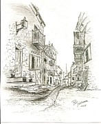 Europe Drawings - Quaint village by Pat Hoffmann