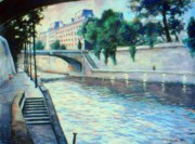 Shoreline Pastels Posters - Quais by the Seine Poster by Rose Wark