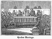 Quaker Meeting Framed Prints - Quaker Marriage, 1842 Framed Print by Granger