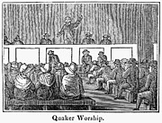Meetinghouse Framed Prints - Quaker Worship, 1842 Framed Print by Granger