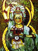 Religious Art Glass Art - Quan Yin by Julie Christensen