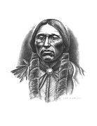 Native Chief Drawings - Quannah Parker by Lee Updike