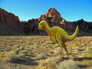 Dinosaur Illustrations - Quantasaurus Running in Desert by Frank Wilson