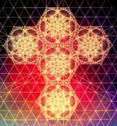 Sacred Geometry Drawings Posters - Quantum Cross Hand Drawn Poster by Jason Padgett