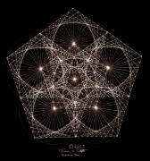 Math Drawings Framed Prints - Quantum Star II Framed Print by Jason Padgett