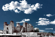 Pueblo Architecture Posters - Quarai New Mexico - Infrared false color Poster by Christine Till