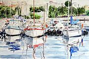 Quattro Barche Al Pennello Di Bonaria Print by Giovanni Marco Sassu