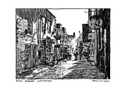 Urban Scene Drawings Framed Prints - Quay Street Lymington Framed Print by Peter Smith