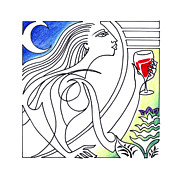 Wine Drawings - Que Syrah by Roy Guzman