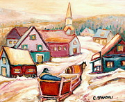 Horse And Buggy Painting Posters - Quebec City Street Scene Caleche Ride In The Village Poster by Carole Spandau