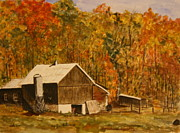 Farm Buildings Painting Originals - Quebec Scene by Betty-Anne McDonald