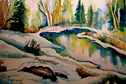Laurentians Paintings - Quebec Winter Landscape by Carole Spandau