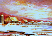 Quebec Houses Art - Quebec Winter Landscape North Shore Morning Farm Country by Carole Spandau