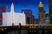 Chicago Landmark Paintings - Queen and King of Michigan Avenue by J Loren Reedy