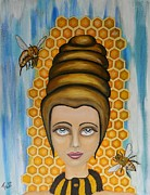 Pop Surrealism Paintings - Queen Bee and the nectar of the gods by Claudia Tuli