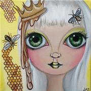 Quirky Painting Posters - Queen Bee Poster by Jaz Higgins
