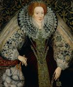 Collar Painting Prints - Queen Elizabeth I Print by John the Younger Bettes