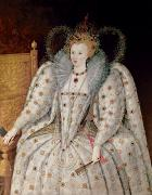 Elizabethan Framed Prints - Queen Elizabeth I of England and Ireland Framed Print by Anonymous