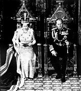 Queen Elizabeth Ii Metal Prints - Queen Elizabeth Ii, And Her Husband Metal Print by Everett