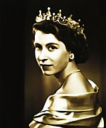 Royalty Digital Art Posters - Queen Elizabeth II Poster by Bill Cannon