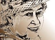 Royal Art Mixed Media Prints - Queen Elizabeth II in 2012 Print by J McCombie