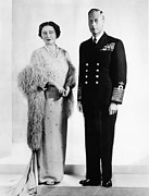 King George Vi Framed Prints - Queen Elizabeth, King George Vi Framed Print by Everett